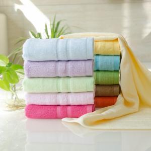 竹纤维毛巾 缎档素色毛巾批发 可订单生产 绣LOGO