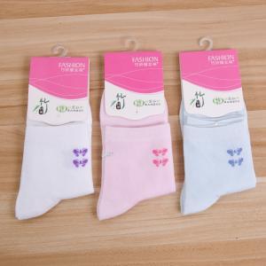 竹纤维女士中筒袜子