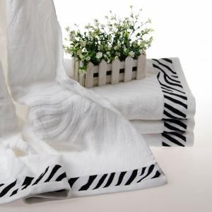 竹纤维白色浴巾 斑马浴巾