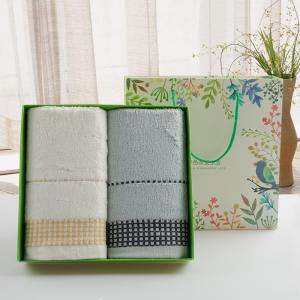 高档礼品 竹纤维礼品2条装毛巾礼盒批发 定制
