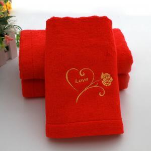 竹纤维浴巾 大红喜庆婚庆浴巾批发 100%全竹纤维